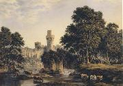 John glover Warwick Castle with Cattle (mk47) oil painting artist