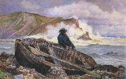 William henry millair A Fisherman with his Dinghy at Lulworth Cove (mk46) oil painting picture wholesale