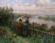 Daniel Ridgeway Knight Sur la Terrasse or Maria and Madeleine oil painting picture wholesale