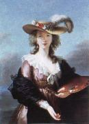 Elisabeth Louise Viegg-Le Brun self portrait in a straw hat oil painting artist