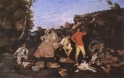 Gustave Courbet Hunter-s picnic oil painting picture wholesale