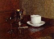 Henri Fantin-Latour Glass, Silver Goblet and Cup of Champagne oil painting reproduction