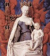 Jean Fouquet right wing of Melun diptychVirgin and Child Surrounded by Angels Showing Charles VII mistress Agnes Sorel oil painting picture wholesale