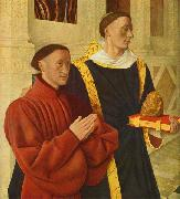 Jean Fouquet left wing of Melun diptych depicts Etienne Chevalier with his patron saint St. Stephen oil painting picture wholesale