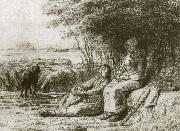 Jean Francois Millet Two shepherden oil painting picture wholesale
