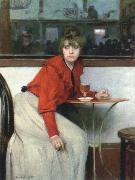 Ramon Casas chica in a bar oil painting artist