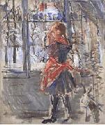Berthe Morisot L Enfant au Tablier Rouge, a sketch oil painting picture wholesale