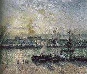 Camille Pissarro sunset port oil painting picture wholesale