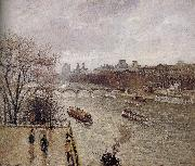 Camille Pissarro rain Louvre oil painting reproduction