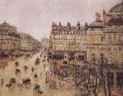 Camille Pissarro rain in the French Theater Square oil painting reproduction
