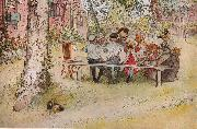Carl Larsson Frukost under stora bjorken oil painting picture wholesale