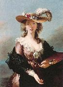 Elisabeth Louise Viegg-Le Brun Self portrait in a Straw Hat, oil painting artist