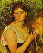 Pierre-Auguste Renoir Girl Braiding Her Hair Spain oil painting artist