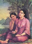 Raja Ravi Varma Shakuntala writes to Dushyanta. oil painting picture wholesale
