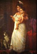 Raja Ravi Varma The Lady in the picture is Mahaprabha Thampuratti of Mavelikara, oil painting picture wholesale