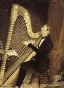unknow artist an early 19th century pedal harp player oil painting picture wholesale