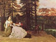 Courbet, Gustave Dame auf der Terrasse (Le dame de Francfort) oil painting reproduction