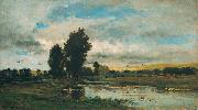 Charles Francois Daubigny French River Scene oil