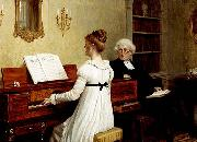 Edmund Blair Leighton Singing to the reverend oil painting artist