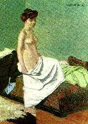 Felix  Vallotton naken kvinna som haller sitt nattlinne oil painting reproduction
