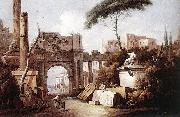 Giuseppe Zais Ancient Ruins with a Great Arch and a Column oil painting artist