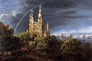 Karl friedrich schinkel Gothic Cathedral with Imperial Palace Spain oil painting artist