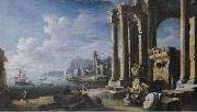 Leonardo Coccorante A capriccio of architectural ruins with a seascape beyond oil painting artist