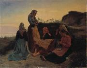Michael Ancher Girls gathered on Sladrebakken a summernight eve Spain oil painting artist