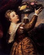 Titian Girl with a Platter of Fruit oil painting reproduction