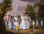Agostino Brunias Free Women of Color with their Children and Servants in a Landscape oil painting