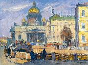 Alexander Nasmyth At the Isaakievskaya Square in Leningrad oil painting artist