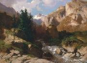 Alexandre Calame Mountain Torrent oil on canvas painting by Alexandre Calame, about 1850-60 oil