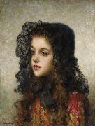 Alexei Harlamov Little Girl with Veil oil painting