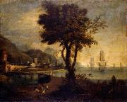Anonymous Paesaggio fluviale con figure oil painting reproduction