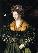 BARTOLOMEO VENETO Portrait of a Lady in a Green Dress oil