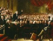 Benjamin Robert Haydon Oil painting of William Smeal addressing the Anti-Slavery Society at their annual convention oil