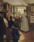 Charles W. Bartlett Reading Aloud, oil painting by Charles W. Bartlett, oil painting