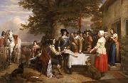 Charles landseer,R.A. Oil on canvas painting of Charles I holding a council of war at Edgecote on the day before the Battle of Edgehill oil painting artist