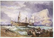 Clarkson Frederick Stanfield H.M.S 'Victory' towed into Gibraltar, oil painting artist