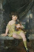 Douglas Volk Young Girl in Yellow Dress Holding her Doll oil painting artist