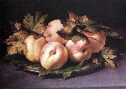 FIGINO, Giovanni Ambrogio Metal Plate with Peaches and Vine Leaves oil painting artist