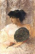 Franciszek zmurko Woman with a fan. oil painting