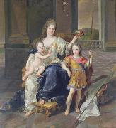 Francois de Troy Painting of the Duchess of La Ferte-Senneterre with the future Louis XV on her lap (then styled the Duke of Anjou) and the Duke of Brittany standing n oil painting artist
