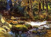 Frederick Arthur Bridgman River Landscape with Deer oil painting artist
