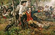 Frederick Coffay Yohn This is an image of an oil painting titled Herkimer at the Battle of Oriskany. Although wounded, General Nicholas Herkimer rallies the Tryon County Mi oil painting artist