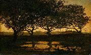 Gerard Bilders Woodland pond at sunset. oil painting artist