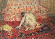 Henri Lebasque Prints Nude on Red Carpet, oil painting artist