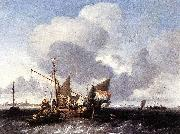 Ludolf Bakhuizen Ships on the Zuiderzee before the Fort of Naarden oil painting