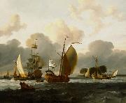 Ludolf Bakhuizen A Dutch Yacht Before the Wind in a Harbour oil painting