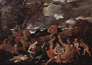 Nicolas Poussin Baccanal mit Lautenspielerin oil painting reproduction